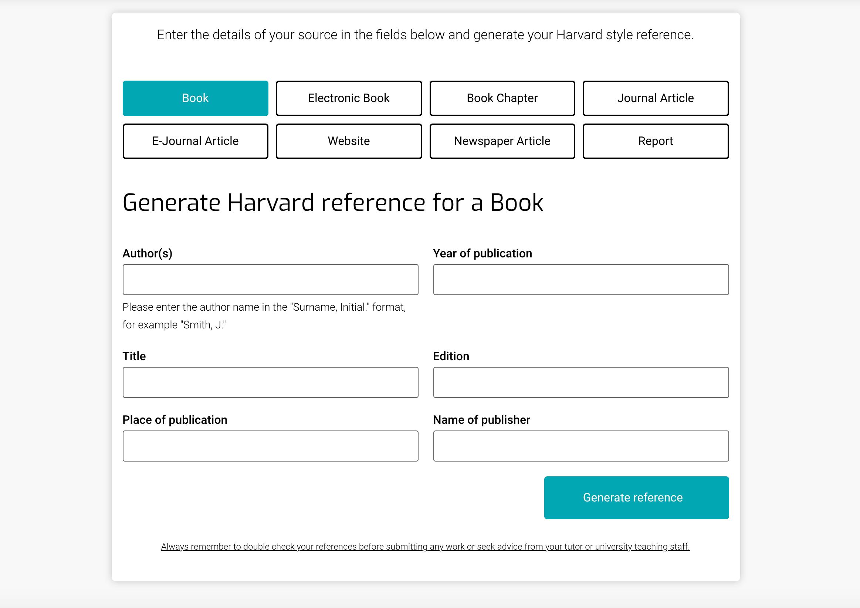 Free Harvard referencing generator